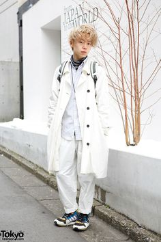 Koichi is a 21-year-old hair stylist who we met in #Harajuku. His look includes a coat from Hyu-Men with Sun Sea pants, a Patagonia backpack and #Adidas sneakers. #tokyofashion #street snaps
