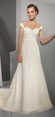 Off-the-shoulder Crystals Elegant Empire Chiffon Wedding Dress