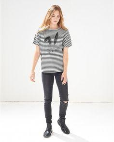 ストライプ x ラビットプリント シャツ / Stripe rabbit t-shirt on ShopStyle
