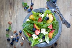 Feta salad with a lot of berries. http://www.jotainmaukasta.fi/2016/06/13/marjaisa-fetasalaatti/