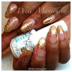 GLITTER!!!! #AllThatGlittersisGold from the new #Trends line from @gelish_official. These are thin acrylics with #Allure gold gel polish applied in a gradient fade on the tips followed by the Trends glitter,  also faded towards the base. GORGEOUS!!! #wellmanicured #nails #nailart #nailsalon #nailstylist ##goldglitter #glitter #manicure #acrylic #manhattanbeach #hermosabeach #intheheartofthesouthbay #la #gelish #gel #nailartclub #gradient #Padgram