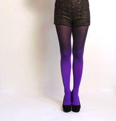 Ombre tights Violet and Black - hand dyed opaque tights. on Etsy, $35.00. @megan flaherty