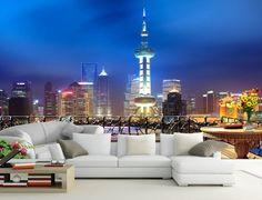 Papier peint photo trompe l'œil effet 3D - La nuit à Shang Hai - Extension d'espace Extension, Decoration, Photos, Cities, Deceit, Wall Art, Outer Space, Impressionism, Decorating