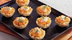 Tasty butternut squash mixture filled in filo shells for mini tartlets. Perfect for appetizers.