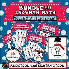 Discount price for 4 (55 worksheets total) of my Winter Math with Snowman products:(1) Winter Addition with Snowman: Touch Math Single Digit addition, (2)Winter Addition with Snowman: Touch Math Double Digit addition, (3) Winter Subtraction with Snowman: Touch Math Single Digit Subtraction, (4) Winter Subtraction with Snowman: Touch Math Double Digit Subtraction.