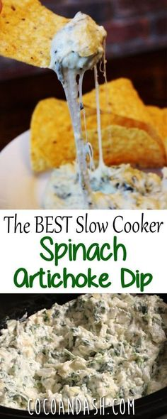 This spinach artichoke dip is the perfect appetizer for any party! So cheesy and perfect for game day too! And it's made in the SLOW COOKER!!