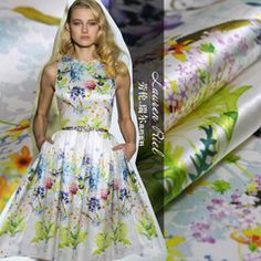 Digital printing pastoral style heavy silk satin stretch fabric handmade DIY silkworm silk fabric wholesale