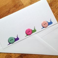 3 x Button snails greetings card £3.50