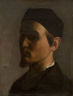 Jules-Elie Delaunay, Self-Portrait with a Cap, c. 1855