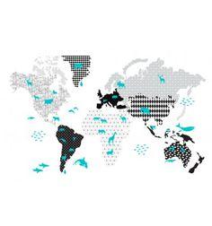 Naklejki Ścienne Mapa CZARNO BIAŁA