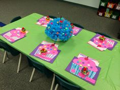 Invites, table decor and a sweet present idea for a Muffins with Mom (Mother's Day) celebration.