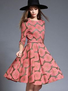 TBDress - TBDress Embroidery Waves Printed Belt Womens Day Dress - AdoreWe.com