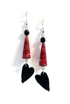Boucles d'oreilles rouges et noires pendantes Perles en Papier Capsules Nespresso 01