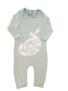 This pastel blue colored all in one is made of the best brushed soft cotton and with it sweat slogan and a great print makes for an excellent gift for those little ones you love.