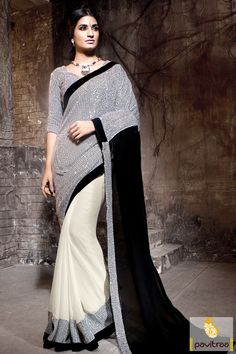 Black and White Color Bemberg Marriage Wear Saree with Discount