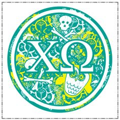 awesome chi o button with crest, skull and crossbones and owls!