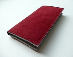 Smartphone wallet grey/cranberry to fit iPhone 6 by CaseClosedUK