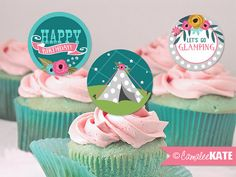 """""""GLAMping"""" Girls Camping Themed - Birthday Cupcake Toppers or Favor Tags, Girl Party themes / ideas - slumber party - tent - flowers - stars - pink teal blue, olive green, etsy.com - diy"""