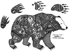 Native American Bear! Would love to try this in pen & ink..