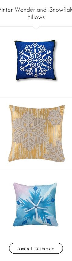 """Winter Wonderland: Snowflake Pillows"" by polyvore-editorial ❤ liked on Polyvore featuring holidays, snowflakepillows, home, home decor, throw pillows, navy blue accent pillows, wool throw pillows, navy toss pillows, navy accent pillows and navy blue home decor"