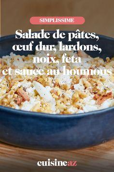 Pour cuisiner cette salade de pâtes, œuf dur, lardons, noix, feta et sauce au houmous pour 2personnes, vous aurez besoin de 20minutes de préparation. #recette#cuisine#salade#saladedepates #pates #oeuf #fromage Nutella, Sauce, Grains, 20 Minutes, Feta, Pasta Salad, Hummus, Chopped Salads, Cheese