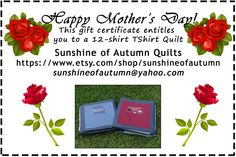 Mothers Day Custom Made Tee Shirt Quilt from 12 of your Own tshirts by sunshineofautumn on Etsy