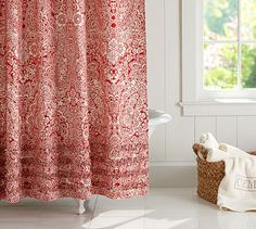 very pretty, but maybe too busy? Product Images | Pottery Barn: Dolly Paisley Ruffle Shower Curtain