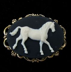Cameo Brooch or Pendant Horse Black and Creme