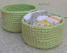 Items similar to Crochet baskets Mint/White/Pink - Storage knit baskets on Etsy