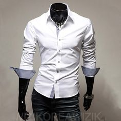 Mens Casual Shirts 2016 Hot Sale Mens Slim Fit Dress Long Sleeve Shirts Soild Male Social Shirts Designer Chemise Homme 3XL 25