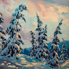 New Winter Landscape Illustration Trees 27 Ideas Winter Landscape, Landscape Art, Landscape Paintings, Winter Painting, Winter Art, Winter Light, Tree Photography, Environment Concept Art, Canadian Artists