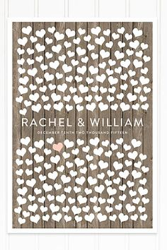 Hearts and wooden wall background make this a great guest book alternative for a barn wedding.