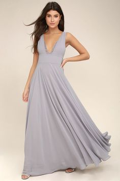 Lulus Exclusive! Make an upcoming occasion extra special with the True Bliss Grey Maxi Dress! Woven poly forms this elegant maxi dress with a lace trimmed, V-neckline, set-in waist, and cascading skirt. Hidden back zipper with clasp.
