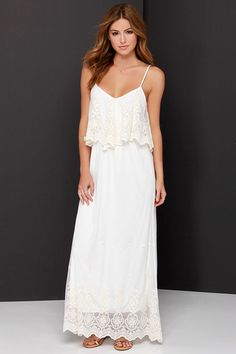 ivory lace maxi dress for summer