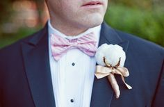 Cotton cotton cotton! boutonnier, dream man, southern style, wedding ideas, bow ties, future husband, southern weddings, groom, flower
