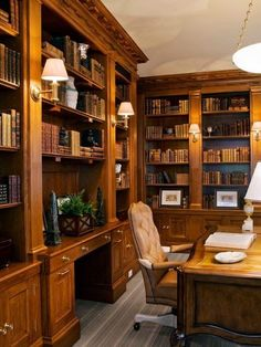 Traditional Home Office Library Design, Pictures, Remodel, Decor and Ideas - this is semi-close-ish to what I've had in mind for my someday home library / office. Home Library Design, Office Interior Design, Office Interiors, House Design, Library Ideas, Office Designs, Home Office Space, Home Office Decor, Office Furniture