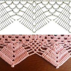 41 ideas crochet lace edging tutorial fabrics for 2019 Crochet Border Patterns, Crochet Boarders, Crochet Lace Edging, Crochet Motifs, Crochet Diagram, Crochet Chart, Crochet Doilies, Crochet Stitches, Filet Crochet
