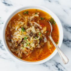 Keto Cabbage Soup Recipe - very quick and easy to make nutritious and delicious soup made with cabbage ground beef and tomatoes. Hearty one pot a family favorite perfect for the cold weather. Cabbage And Beef, Cabbage Soup Recipes, Diet Soup Recipes, Keto Soup, Healthy Recipes, Crockpot Recipes, Cooking Recipes, Shredded Cabbage Recipes, Keto Cabbage Recipe