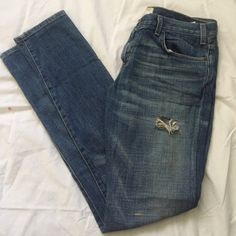 Destroyed Current/Elliot Skinny Jeans They have an inseam of 32 in. and a broken belt loop Current/Elliott Jeans Skinny
