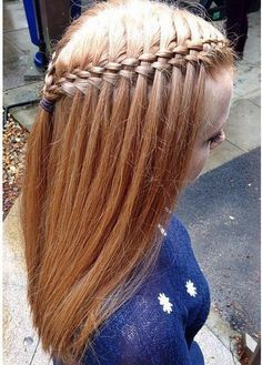 Five strand waterfall braid - complex, detailed, five strand, waterfall braided hairstyle Pretty Hairstyles, Girl Hairstyles, Braided Hairstyles, Children Hairstyles, Hairstyle Braid, Hairstyles Pictures, Simple Hairstyles, Braid Hair, School Hairstyles