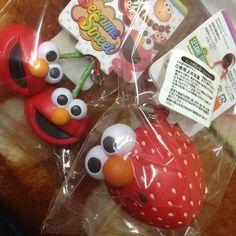 Rare Elmo fruit squishies.