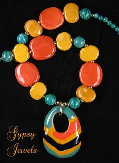 Carnival - Necklace with Kazuri Beads and Russian Amazonite from gypsyjewels on Ruby Lane