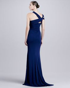Badgley Mischka Collection Twist-Neck Georgette Gown - Neiman Marcus