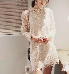 Long-Sleeve Mock-Neck Lace Dress