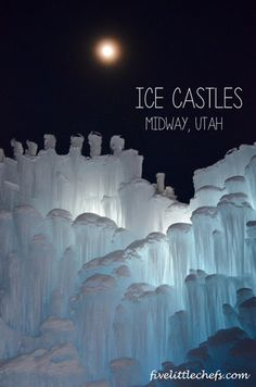 Ice Castles in Midway, Utah is a fun outing. It is constantly changing and captures the attention of all ages. See how we enjoyed it at fivelittlechefs.com #icecastles