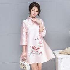 2017 Korean Embroidery Dress Modern Qipao Cheongsam Pink Elegant Long Sleeve Maxi Dress Robe Orientale Vintage Dresses 50s 60s Click visit for check price #apparel #worldapparel