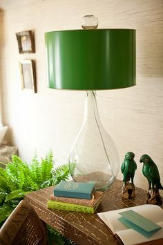 Love this lamp, the color of the shade, and the two little birds :-)