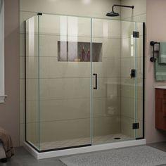 Unidoor X 63 1 2 Inch W X 34 3 8 Inch D X 72 Inch H Frameless Shower Enclosure In Satin Black Frameless Shower Doors Shower Doors Frameless Shower Enclosures