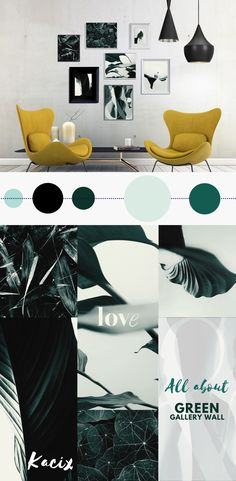 How to decorate your new apartment? Create a gallery wall! Big bundle of prints in modern dark green shades. Variety of green leaves in combination with typography. Hang some nature on your wall, and create fresh and inspiring atmosphere! +++ #gallerywall #gallerywallideas #gallerywalldecor #printablewallart #printablewalldecor #kacixart