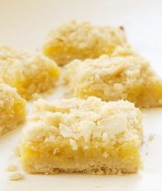 Lemon Almond Crumb Bars | Bake or Break~T~These are amazing and different. Lemon zest in the crust, crystallized ginger in the filling along with lots of lemon juice and zest and a topping of flour, sugar, melted butter and sliced almonds. ( added some coconut to the topping) YUM